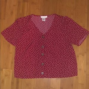 Red cropped shirt with white dots